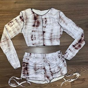 Tie-dye Long Sleeve Crop Top and Shorts 2 Pc Set